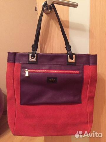 Женская сумка из натуральной кожи и замши Furla Club BLT0