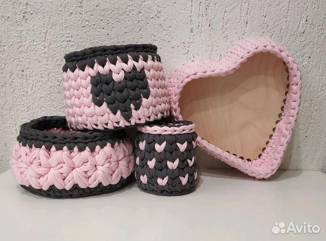 вязаные интерьерные корзинки из трикотажной пряжи Festimaru
