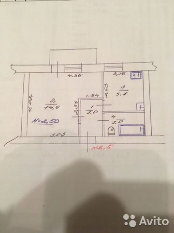 1-к квартира, 28 м², 1/3 эт.