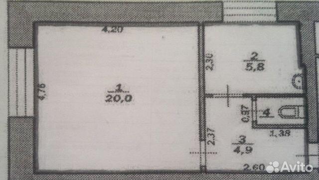 1-room apartment, 32 m2, 1/2 FL.